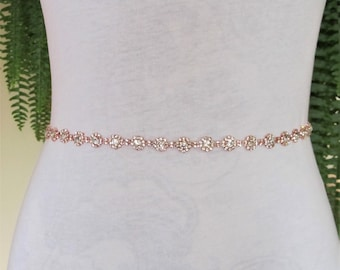 Thin Rose Gold Crystal Rhinestone Bridal Sash,Wedding sash,Bridal Accessories,Bridal Belt,Style #30