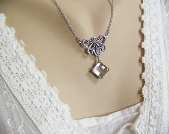 Crystal Necklace, Chessboard Crystal Necklace, Square Chessboard Necklace, Swarovski Silver Shade, Faceted Crystal Necklace, Chessboard