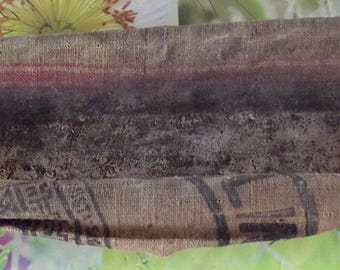 Iconic French Vintage long Baguette bread dough basket fabric sewn linen lining bakery Antique coffee item 1910 Original