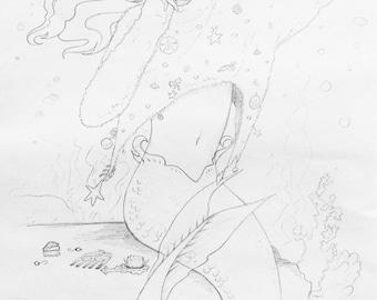 Mermaid Sweater Original Pencil Illustration