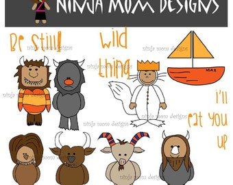 Wild Things and Friends Clip Art in Color and Black Line