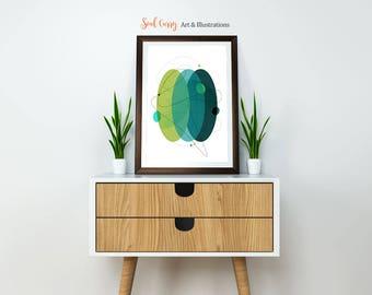 The Green Orbs : Mid Century Modern, Scandinavian style, Geometric Art, Nature Art, Abstract Art, Wall Art Print, Home Decor, Green and Blue