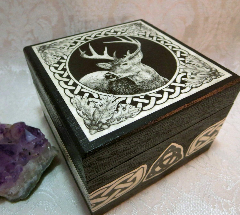 Celtic Stag Box Wedding Handfasting Ring Bearer Box