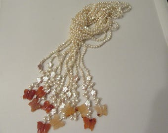 Butterfly Agate and Pearl Tassel Necklace Wrap Style