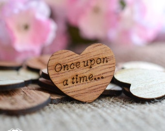 "100 Once upon a time... Wood Hearts 1"" - Rustic Wedding Decor - Table Confetti - Wooden Hearts - Wedding Invitations"