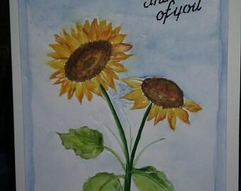 Sun Flower watercolor note card