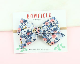 "The ""ROSA BLUE"" Large Pinwheel Bow, Pinwheel Style Bow, Purple Bow, Double Gauze Pinwheel, Handmade Bows, Newborn Headband, Baby Bow Clips"