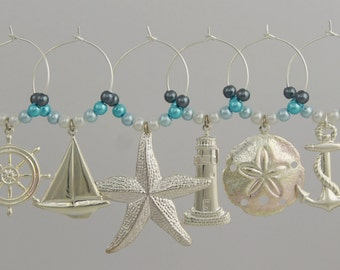 Wine Charms - Nautical - Silver Plated