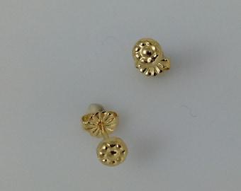 Dainty Post Earrings, Stud Earrings, Gold Flower Earrings,  Gold  Earrings, Organic Earrings, Minimalist Studs