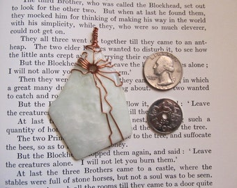 Item 2290 Natural Howlite Copper Wire Wrapped Pendant Necklace