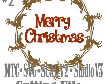 SVG Cut File Santa Sleigh with Reindeer Circle Design #02 with Merry Christmas Cut File MTC SCAL Cricut Silhouette Cutting File