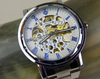 Silver and Blue Men's Classic Mechanical Wrist Watch with Metal Band - Stainless Steel - Automatic Self-winding - Engravable - Item MWA4001