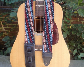 Guitar Strap/ Leather/ Finger Woven