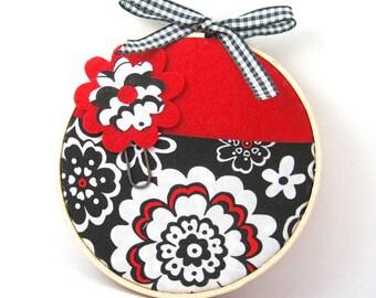Gift Card Pocket Holder, Mini Wall Organizer, Red Flower Pocket, Large Flower Paper Clip Bookmark, teacher, hostess gift