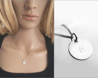Engraved Silver Necklace, Round Disc Necklace, Minimalist Jewelry, 925 Sterling Silver Pendant Necklace, Wish Text, Custom Jewelry