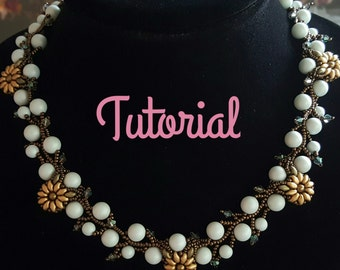 Beading Tutorial, Beading Pattern For Flowers and Ivy Vine Necklace; Sunflowers, Swarovski Pearls, Superduos