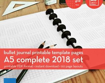 A5 | Complete 2018 Set | Bullet Journal Printable Templates | Plus grid | 5mm