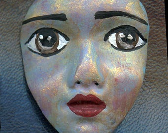 """Polymer Clay One of a Kind  2""""  Abstract  Detailed Face Cab Un Drilled ABFC 1"""