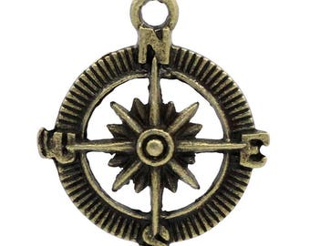 Compass, bronze, 30 mm, set of 5 Pcs rose charms
