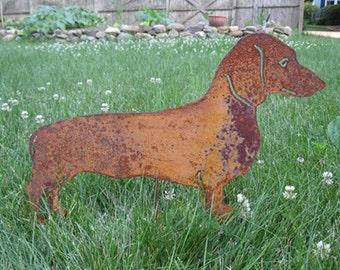 Dachshund Garden Stake or Wall Hanging / Garden / Pet Memorial / Shadow / Cut Out / Metal / Silhouette / Dog / Rusty / Wall / Art / Hanging