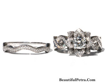 EVER BLOOMING LOVE  Set- Infinity Diamond Engagement Flower Ring - Ring on a green leaf - Rose - Lotus - Beautiful Petra Patented - fL06