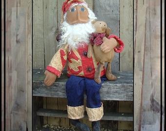 Instant dowload PDF pattern primitive folk art santa rag doll small osnaburg teddy bear HAFAIR ofg faap Lucys Layz Dayz 428