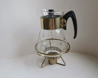 Vintage mid century carafe with warmer Coffee carafe with gold stars