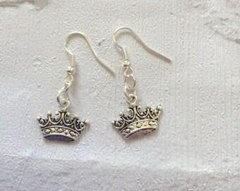 Princess Crown Earrings, Crown Earrings,  Princess Earrings, Silver Earrings, Wedding Earrings, Princess Jewellery, Silver Drop  Earri