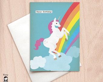 Birthday Unicorn - Rainbow Unicorn Birthday Greeting Card