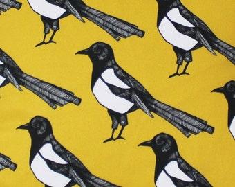 Yellow Magpie Fabric - fabric by the metre - upholstery fabric - curtain fabric - bird fabric - designer fabric - yellow fabric - home decor