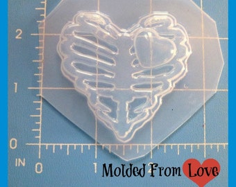 NEW  Ribcage Heart With A Heart  Flexible Plastic Handmade Resin Mold