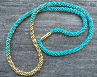 Summer of Style Turquoise and Gold Kumihimo Beaded Necklace