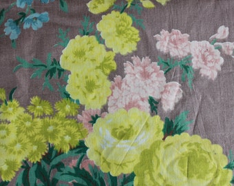 vintage floral chintz fabric / yellow cabbage roses barkcloth style fabric / 5.6 yards