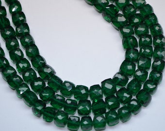 """AAAA-8"""" Strand-7mm-Superfine Quality-Emerald Green Quartz Faceted Cube Shape Briolette Beads-31 Beads"""