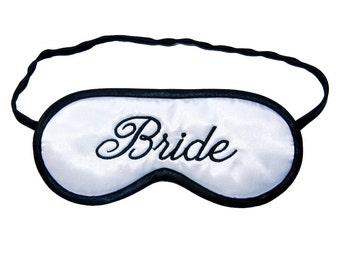 Bride Sleep Mask, Wife to be blindfold, Wedding night black and white sleeping eye mask, Bridal shower, Marriage gift , Silk satin or cotton