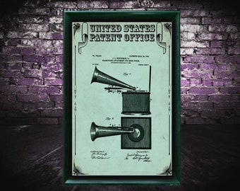 Gramophone box buff vintage record player Patent Print, Gramophone Gift, Gramophone Patent Print, Wall Decor, Patent Decor, Gramophone Decor