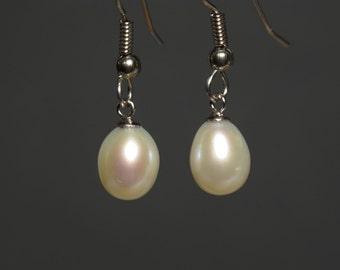 White Freshwater Teardrop Pearl Earrings in Surgical Steel Ear Wires Hypoallergenic, Allergy Free, Real Genuine Pearls, Dangle Earrings