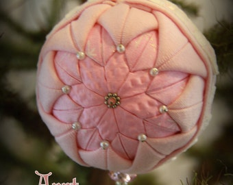 Handmade Quilted & Beaded Christmas Ball Ornament Pink