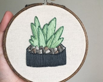 small succulent embroidery hoop wall art