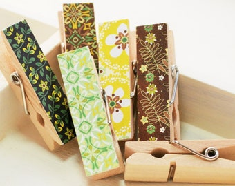 Decorative Clothespins, Bag Clips, Brown, Green, Yellow
