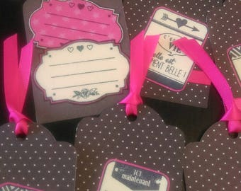 Set of 10 labels event grey and fuchsia