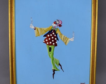 Maurizio Massi Clown Painting Oil on Board Floating Holding Feathers Italian