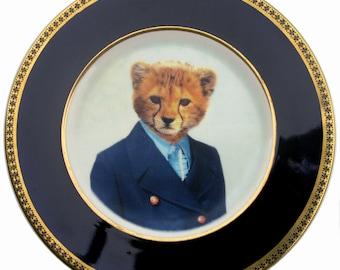 "Charlie Cheetah School Portrait Plate 8"""