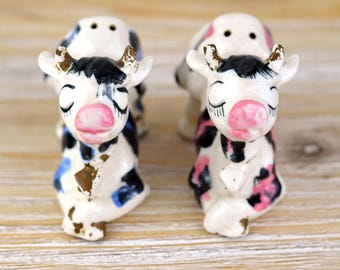 Vintage Cow Salt & Pepper Shakers, Spotted Cow Shakers