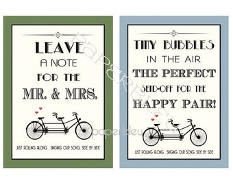 """Weddings - Tandem Bicycle Theme """" Leave A Note & Bubbles""""- DIY Instant Printable Downloads - two 5x7 print"""