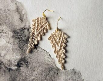 boho earrings, ivory lace earrings   SAZIA   lace earrings, geometric earrings, statement earrings, dangle earrings, modern earrings, gift
