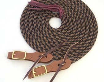 Custom Split Yacht Rope Reins with Quick Change Slobber Straps, Split Reins, Custom Reins, Custom Rope Reins, Rope Reins, Horse Reins