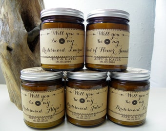 Will You Be My Bridesmaid Candle SET OF 5 Bridesmaid Proposal Bridesmaid Gift Set Will You Be My Maid Of Honor Asking Bridesmaid Gift