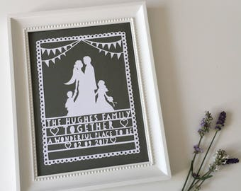 Lace & Bunting - silhouette - Papercut A4 Paper/Card - Personalised Name and Date Commemoration - wedding birthday anniversary gift