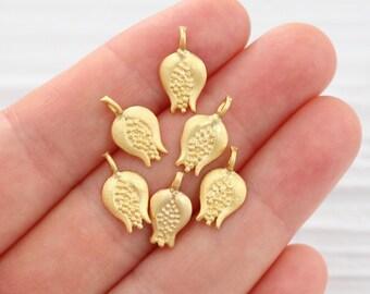 10pc pomegranate charm, gold pomegranate, dangle charms, earring charms, fruit charms, gold dangle charms, tiny charms, bracelet charms